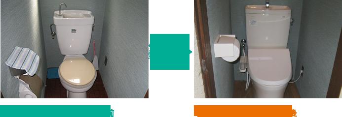 トイレのリフォーム事例.1 - Before/After